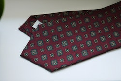 Medallion Printed Silk Tie - Burgundy/Green/Orange