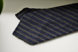 Regimental Wool Grenadine Tie - Untipped - Navy Blue/Beige