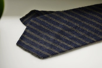 Regimental Wool Grenadine Tie - Untipped - Navy Blue/Beige