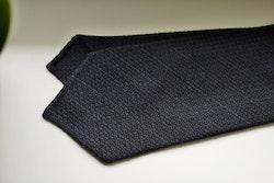 Regimental Textured Wool Grenadine Tie - Untipped - Navy Blue