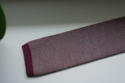 Semi Solid Knitted Cotton Tie - Burgundy/White
