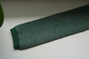 Semi Solid Knitted Cotton Tie - Green/White