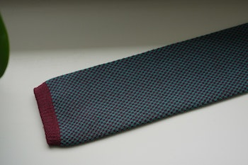 Semi Solid Knitted Cotton Tie - Cerise/Turquoise