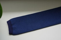 Semi Solid Knitted Cotton Tie - Navy Blue/Light Blue