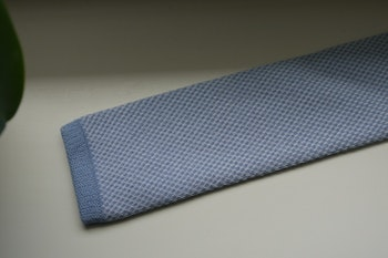 Semi Solid Knitted Cotton Tie - Light Blue/White