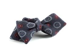 Medallion Wool Bow Tie - Grey/Burgundy/White