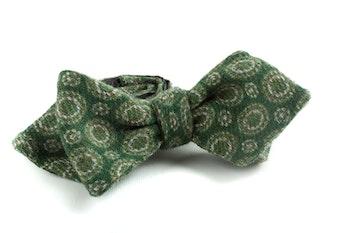 Medallion Wool Bow Tie - Green
