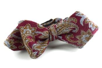 Paisley Wool Bow Tie - Burgundy/Green/Light Blue