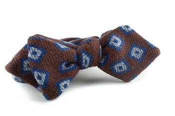 Medallion Wool Bow Tie - Brown/Navy Blue/Light Blue
