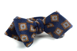 Medallion Wool Bow Tie - Navy Blue/Mustard/White