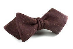 Solid Silk Bow Tie - Brown
