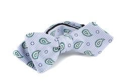 Paisley Silk/Cotton Bow Tie - White/Light Blue/Green