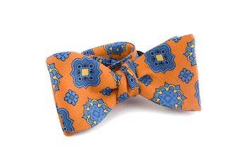 Medallion Silk/Cotton Bow Tie - Orange/Light Blue