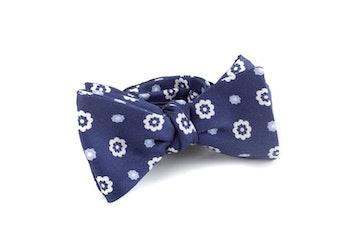 Floral Silk/Cotton Bow Tie - Navy Blue/White