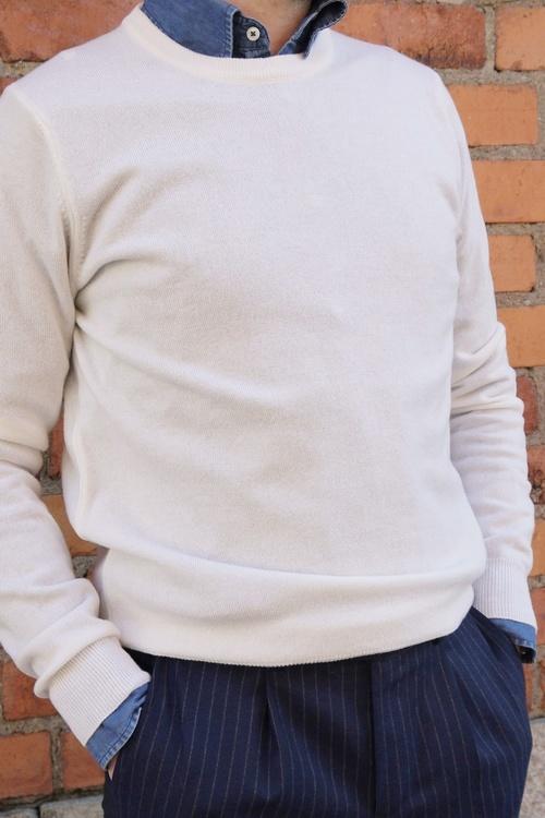 Crewneck Cashmere Pullover - White