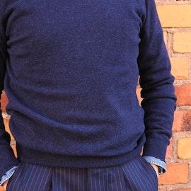 Crewneck Cashmere Pullover - Navy Blue