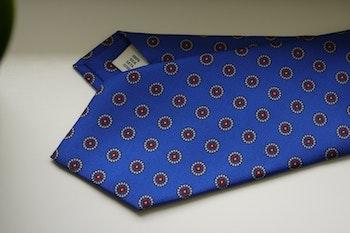 Floral Printed Silk Tie - Light Blue/Grey/Red