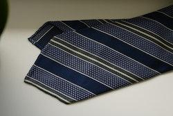 Regimental Silk Grenadine Tie - Untipped - Navy Blue/Light Blue