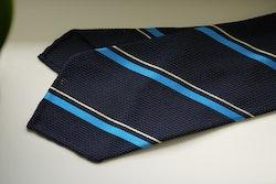 Regimental Silk Grenadine Tie - Untipped - Navy Blue/Cobolt