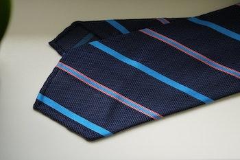 Regimental Silk Grenadine Tie - Untipped - Navy Blue/Cobolt/Pink