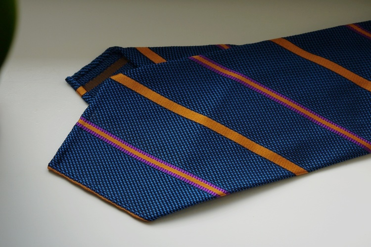 Regimental Silk Grenadine Tie - Untipped - Petrol/Orange/Purple