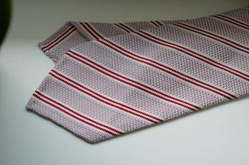 Regimental Silk Grenadine Tie - Untipped - Pink/Red/White
