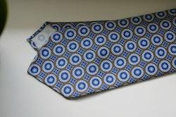 Medallion Printed Wool Tie - Untipped - Beige/Light Blue
