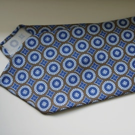 Medallion Printed Wool Tie - Untipped - Beige/Light Blue