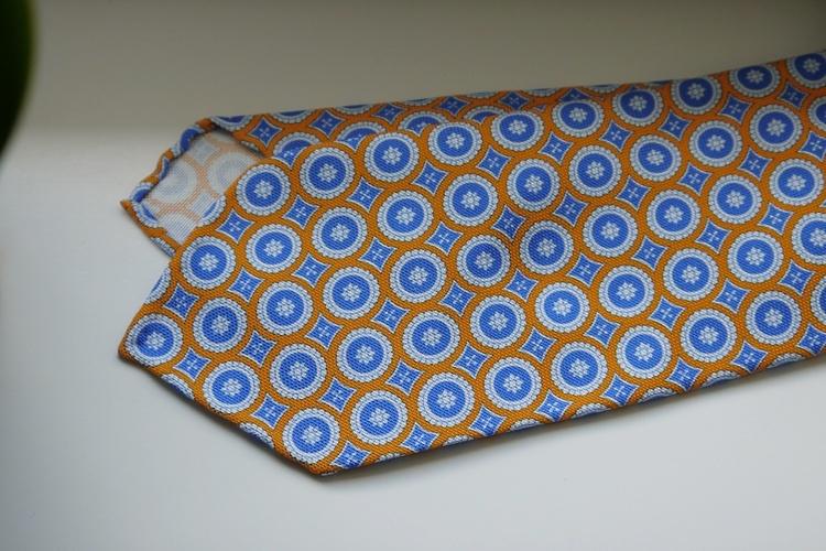 Medallion Printed Wool Tie - Untipped - Orange/Light Blue