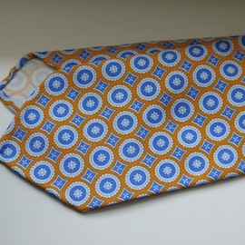 Medallion Printed Wool Tie - Untipped - Orange/Light Blue