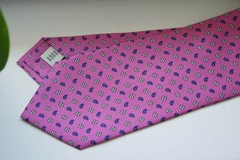 Paisley Floral Printed Silk Tie - Pink/Light Blue/White