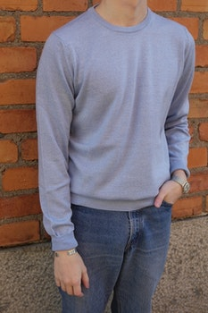 Crewneck Merino Pullover - Light Blue