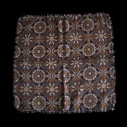Floral Printed Silk Pocket Square - Brown/Beige/Mustard/Light Blue