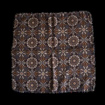 Floral Printed Wool Pocket Square - Brown/Beige/Mustard/Light Blue
