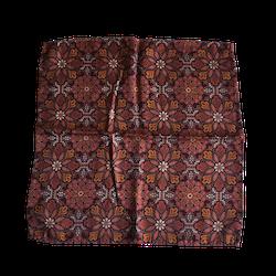 Floral Printed Silk Pocket Square - Burgundy/Beige/Mustard