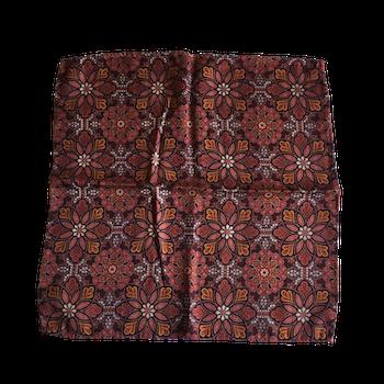 Floral Printed Wool Pocket Square - Burgundy/Beige/Mustard