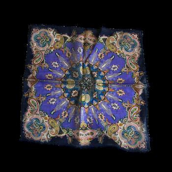 Oriental Printed Wool Pocket Square - Purple/Navy Blue/Green