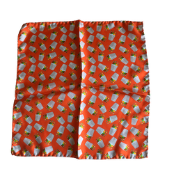 Bucket Silk Pocket Square - Orange