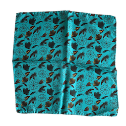 Fish Bait Silk Pocket Square - Turquoise