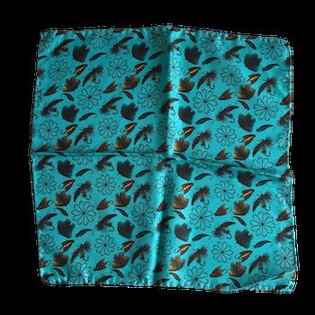 Fish Bait Silk Pocket Square - Turquoise