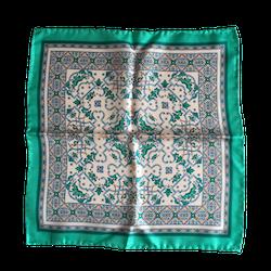Oriental Silk Pocket Square - Mint/White
