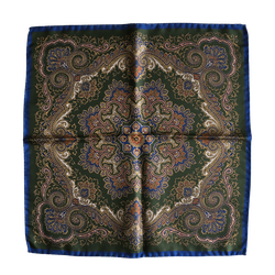 Oriental Silk Pocket Square - Dark Green/Navy Blue/Gold