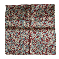 Floral Silk Pocket Square - Burgundy/Beige/Steel Blue