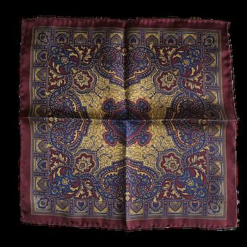 Oriental Silk Pocket Square - Burgundy/Navy Blue/Gold