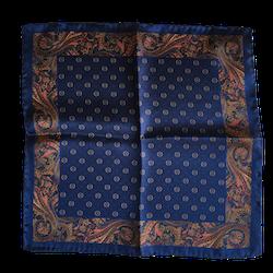 Floral Paisley Silk Pocket Square - Navy Blue/Gold