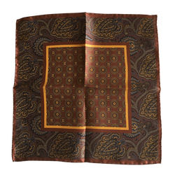 Medallion Silk Pocket Square - Bronze/Brown/Mustard