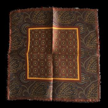 Medallion Silk Pocket Square - Bronze/Brown/Mustard