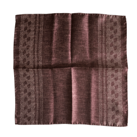 Border/Pin Dot Silk Pocket Square - Brown/White