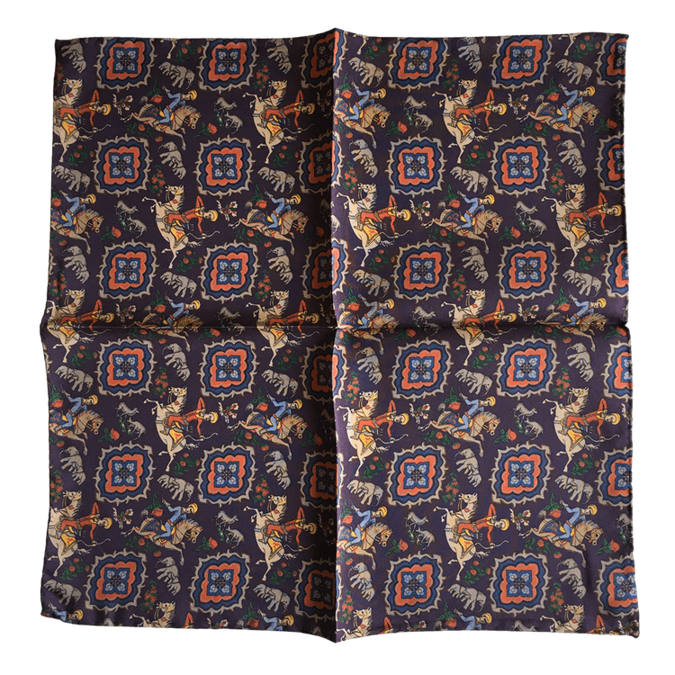 Rider Silk Pocket Square - Dark Purple/Beige/Orange