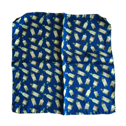 Bottles Silk Pocket Square - Mid Blue/Green/Grey